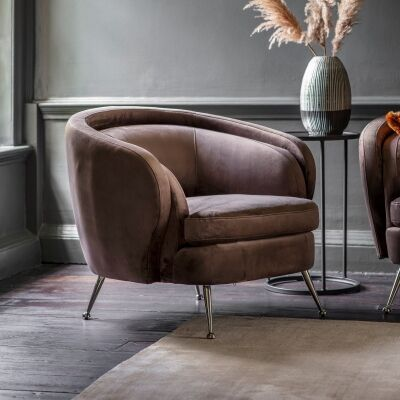 Tania Velvet Fabric Tub Chair, Dark Taupe