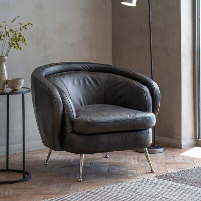 Tania Leather Tub Chair, Black