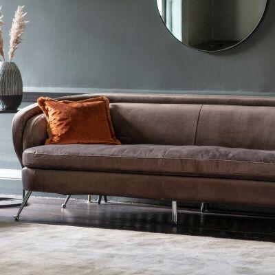 Tania Velvet Fabric Sofa, 3 Seater, Dark Taupe