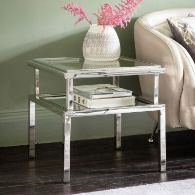 Safron Stainless Steel Square Side Table