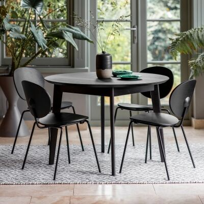 Ferham Round Dining Table, 110cm, Black