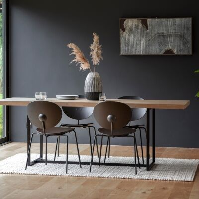 Ferham Dining Table, 200cm, Natural / Black