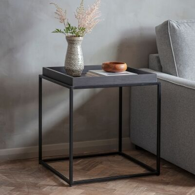 Ferham Tray Top Side Table, Black
