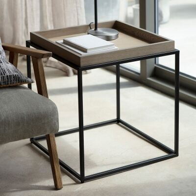 Ferham Tray Top Side Table, Natural / Black