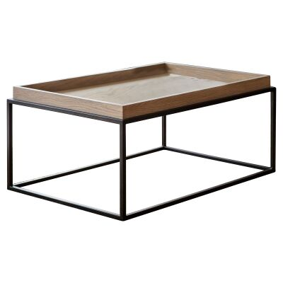 Ferham Tray Top Coffee Table, 90cm, Natural / Black