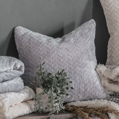 Taisha Embossed Chevron Feathered Filled Scatter Cushion, Silver