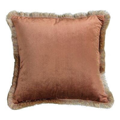 Orella Velvet Fabric Feather Filled Scatter Cushion, Burnt Orange