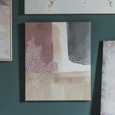Blush Brushes Stretched Abstract Canvas Wall Art Print, No.1, 60cm