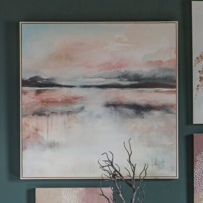 Pinky Haze on The Lake Framed Canvas Wall Art, 100cm