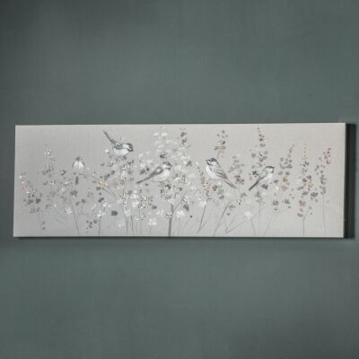 Silvery Tweet Hand Painted Linen Canvas Wall Art, 150cm