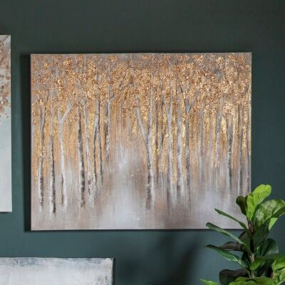 Golden Birch Forest Hand Painted Canvas Wall Art, 100cm