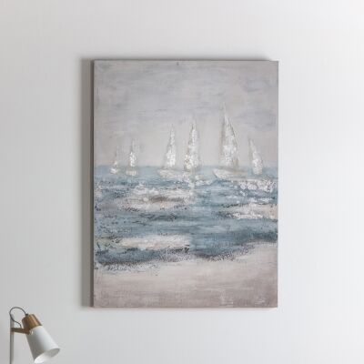 Sail in The Mist Textured Canvas Wall Art, 120cm