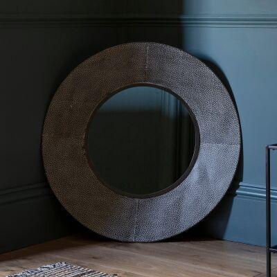Theo Iron Frame Round Wall Mirror, 88cm