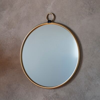 Bainbridge Iron Frame Round Wall Mirror, 70cm, Gold