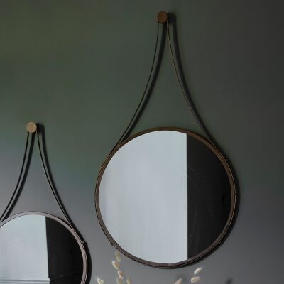 Bellamey Iron Frame Round Wall Mirror, 90cm