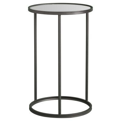 Hilary Glass Topped Metal Round Side Table