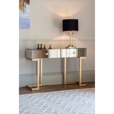 Audry Antique Mirrored 2 Drawer Console Table, 120cm