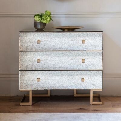 Audry Antique Mirrored 3 Drawer Accent Chest