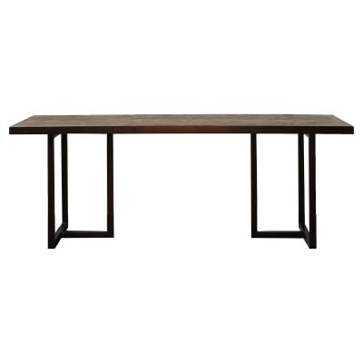 Lungro Reclaimed Elm & Metal Dining Table, 220cm