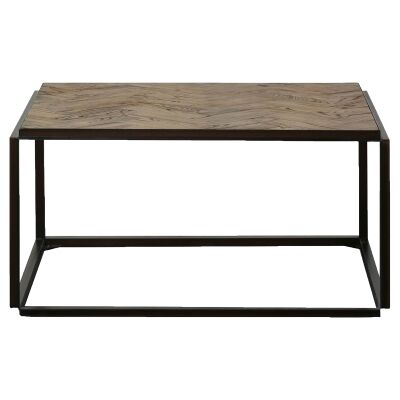 Lungro Reclaimed Elm & Metal Square Coffee Table, 90cm