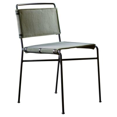 Nocara Velvet Fabric & Iron Dining Chair, Khaki Green