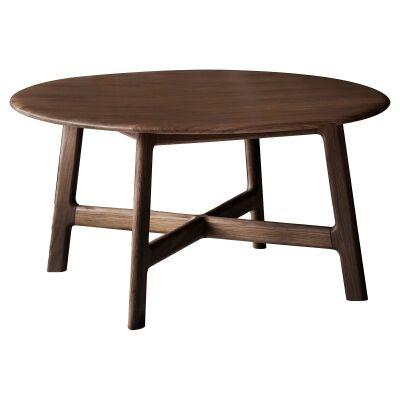 Madrid European Oak Timber Round Coffee Table, 80cm, Walnut