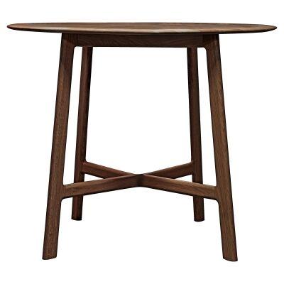 Madrid European Oak Timber Round Dining Table, 100cm, Walnut