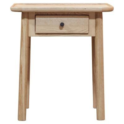 Kingham European Oak Timber 1 Drawer Side Table