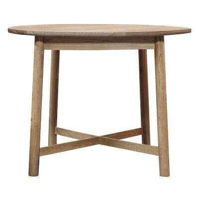 Kingham European Oak Timber Round Dining Table, 90cm