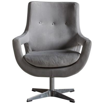 Vistdal Velvet Fabric Swivel Armchair, Grey