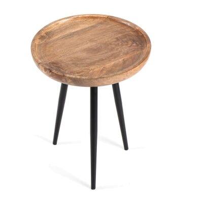 Oslo Mango Wood & Iron Tripod Side Table