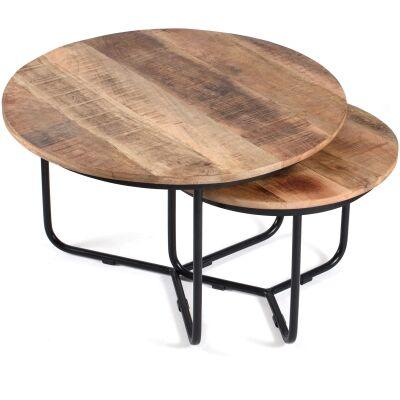 Casa 2 Piece Mango Wood & Iron Nested Coffee Table Set, 76/55cm