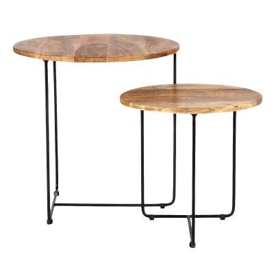 Bergen 2 Piece Mango Wood & Iron Nested Side Table Set