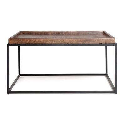 Lino Mango Wood Tray Top Iron Square Coffee Table, 80cm