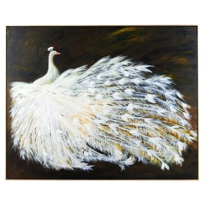 Le Grande Peacock Framed Hand Painted Canvas Wall Art, 150cm, Bronze