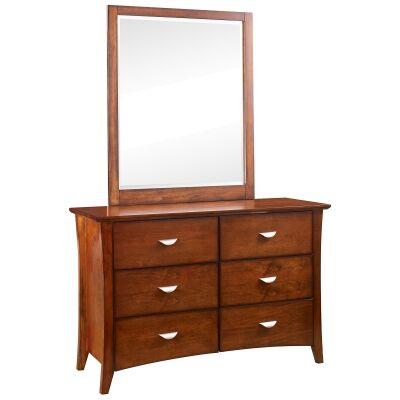 Milson Poplar Timber 6 Drawer Dresser, Walnut