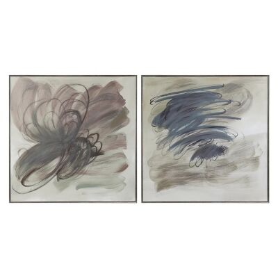 Grey Invasion 2 Piece Framed Hand Painted Canvas Wall Art Set, 100cm