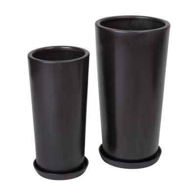 Ares 2 Piece Porcelain Flower Pot Set, Matt Black
