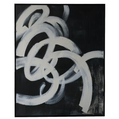 """""""Black Twirl"""" Framed Hand Painted Abstract Canvas Wall Art, No.1, 106cm"""
