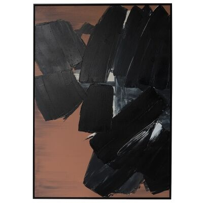 """""""Black Wonder"""" Framed Hand Painted Abstract Canvas Wall Art, 138cm"""
