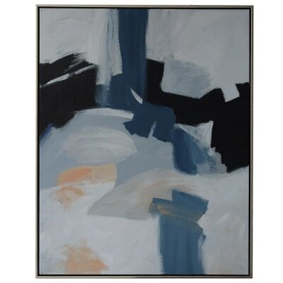 """""""Blue Haze"""" Framed Hand Painted Abstract Canvas Wall Art, No.1, 106cm"""