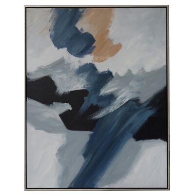 """""""Blue Haze"""" Framed Hand Painted Abstract Canvas Wall Art, No.2, 106cm"""