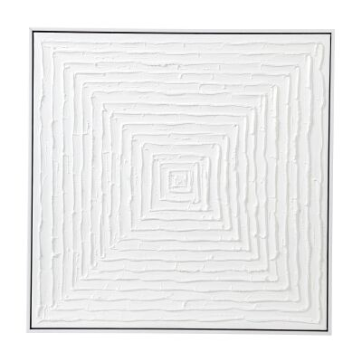 """""""White Vortex"""" Framed Hand Painted Abstract Canvas Wall Art, 68cm"""