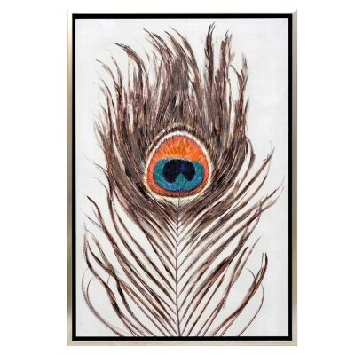 """Pacific Peacock"" Framed Enhanced Canvas Wall Art Print, 85cm"