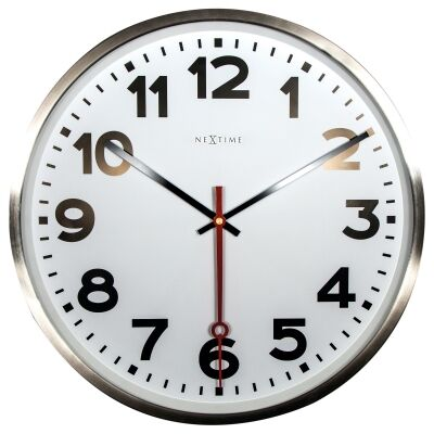 Nextime Super Station Stainless Steel Round Wall Clock, 55cm