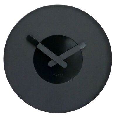 Nextime In Touch Wooden Round Wall Clock - Black