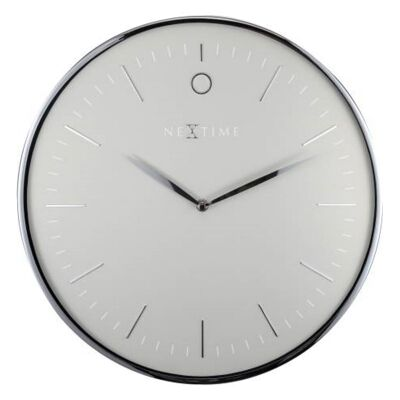 Nextime Glamour Metal Round Wall Clock, 40cm, Silver