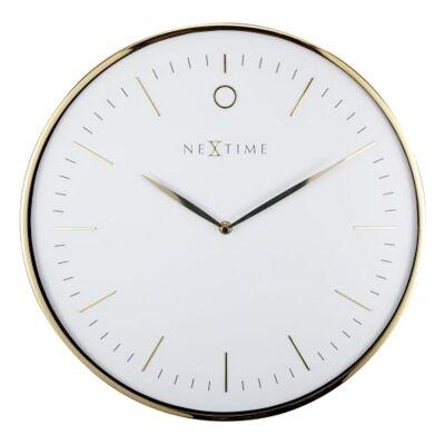 NeXtime Glamour Metal Frame Wall Clock, 40cm, White / Gold