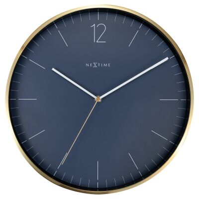 Nextime Essential Gold Metal Round Wall Clock, 34cm, Blue