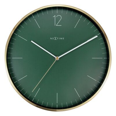 Nextime Essential Gold Metal Round Wall Clock, 34cm, Green